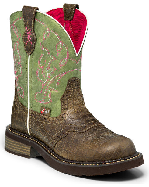 "Justin Women's 8"" Gator Print Western Boots, Green, hi-res"