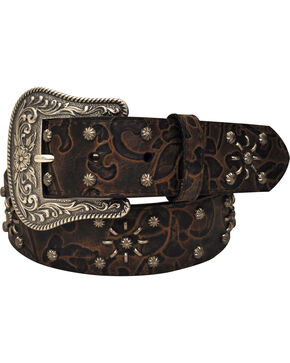 Roper Women's Brown Floral Print Belt, Brown, hi-res