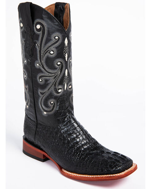 Ferrini Men's Caiman Crocodile Print Western Boots, Black, hi-res