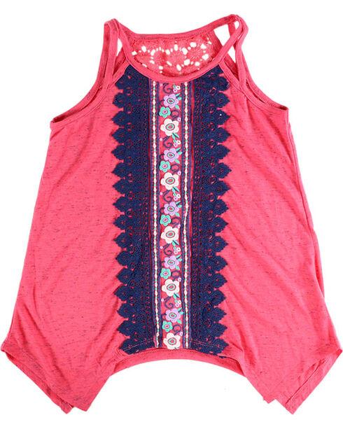 Self Esteem Girls' Crochet Back Tank Top  , Coral, hi-res