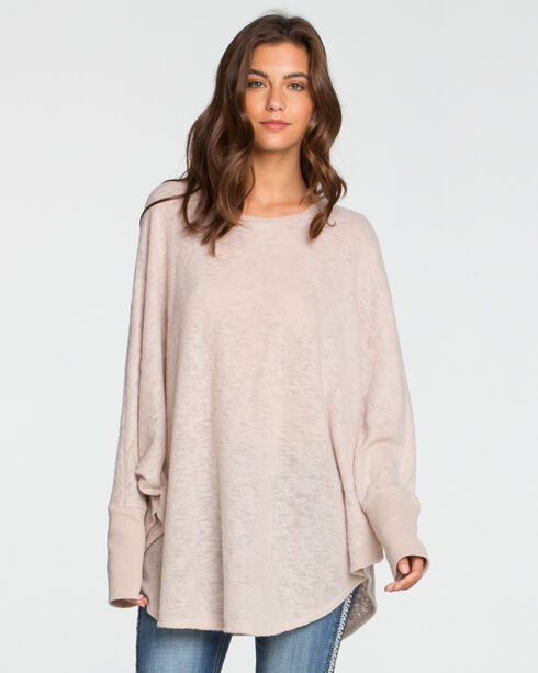 Miss Me Women's Beige Oversized Knit Top , Beige/khaki, hi-res