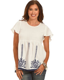 Polagram Women's White Embroidered Top , , hi-res