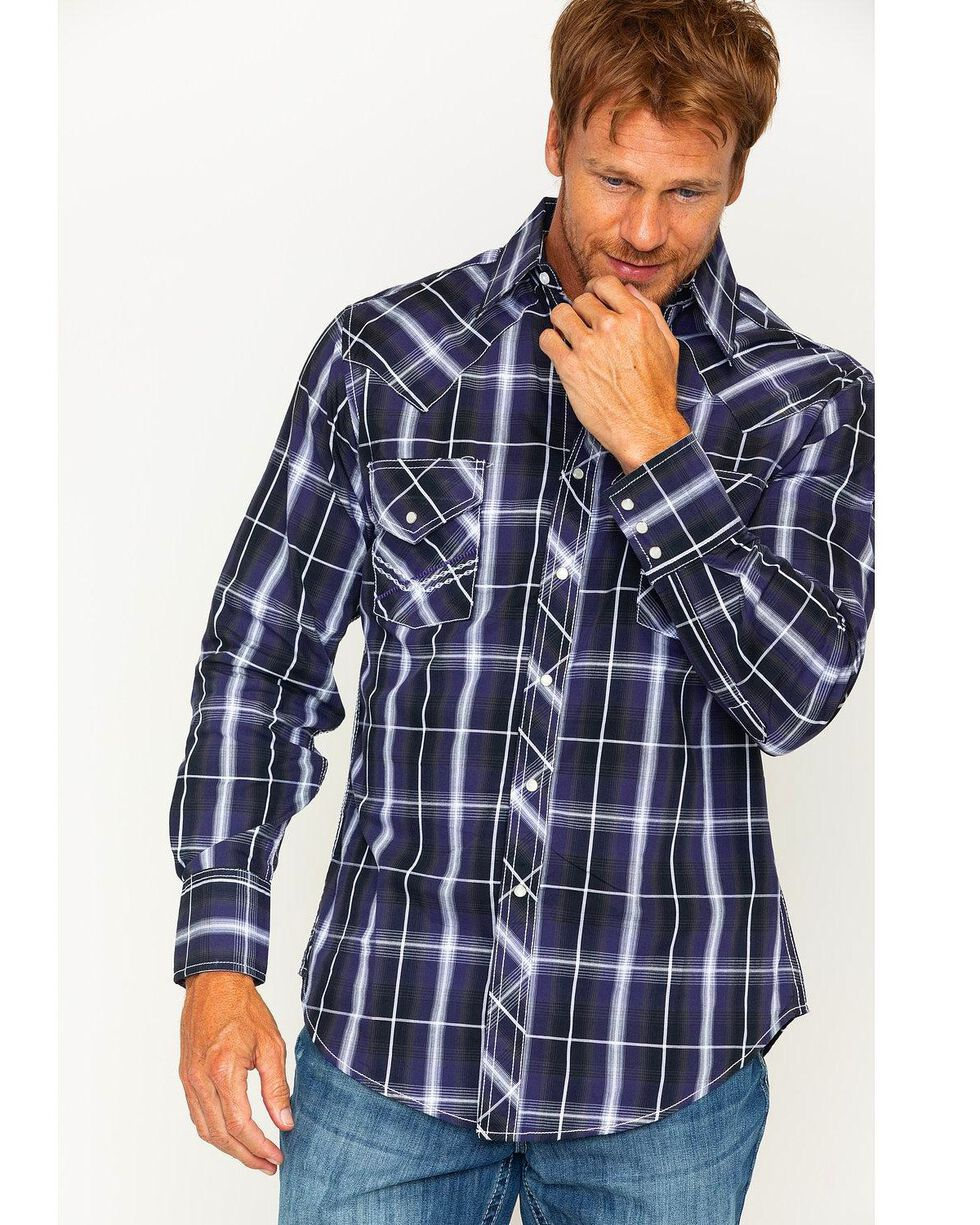 Ely 1878 Men's Textured Plaid Long Sleeve Snap Shirt, Multi, hi-res