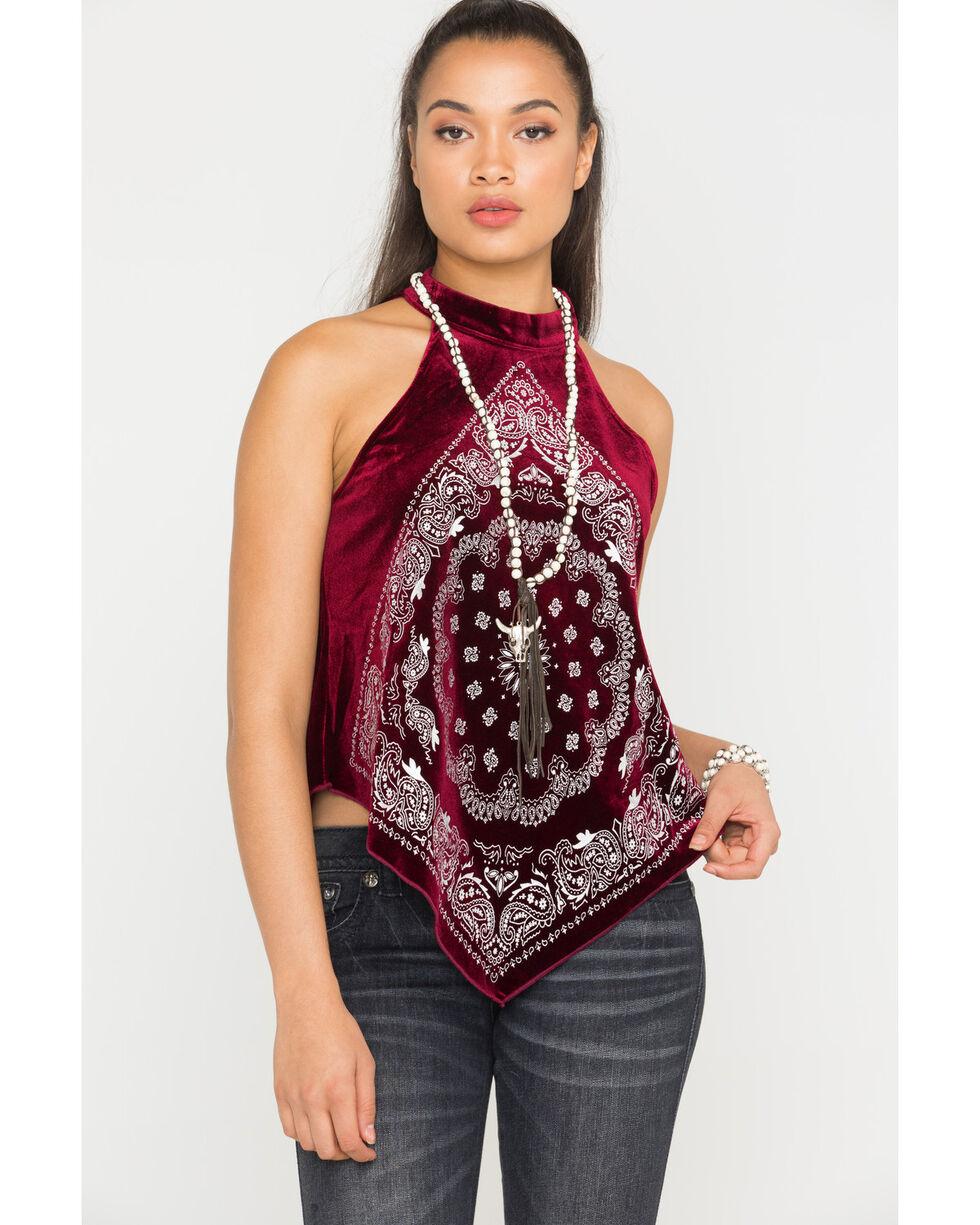 Shyanne® Women's Choker Bandana Print Top, Burgundy, hi-res