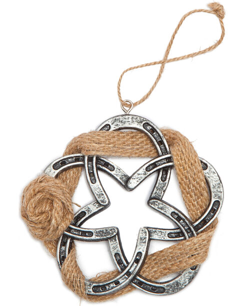 BB Ranch Burlap and Horseshoe Wreath Ornament, No Color, hi-res