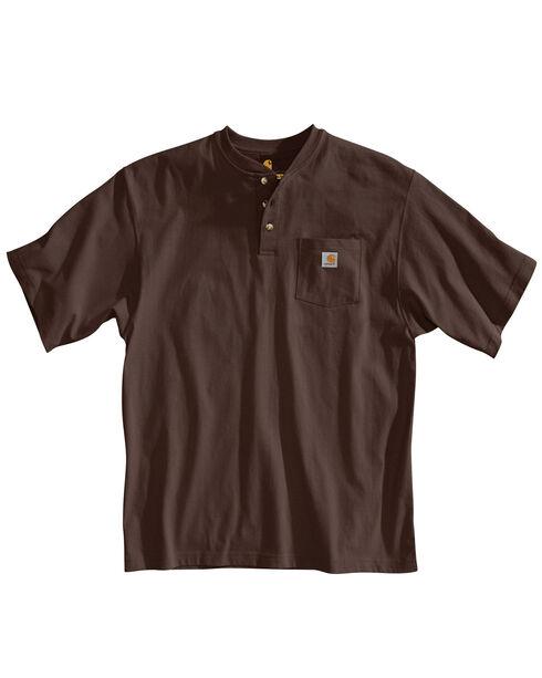 Carhartt Short Sleeve Henley Work Shirt, Dark Brown, hi-res