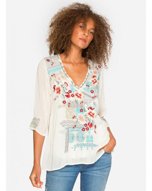 Johnny Was Women's Freyja Blouse , Beige/khaki, hi-res