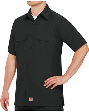 Red Kap Men's Solid Color Rip Stop Short Sleeve Work Shirt , Black, hi-res