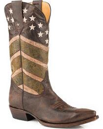 Roper Men's Brown Burnished Army Western Boots - Snip Toe , , hi-res