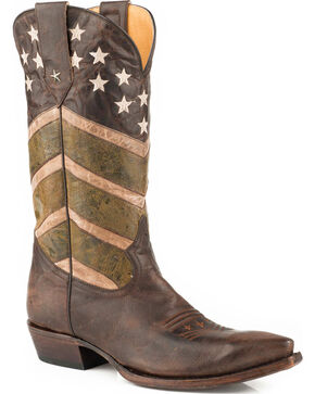 Roper Men's Brown Burnished Army Western Boots - Snip Toe , Brown, hi-res