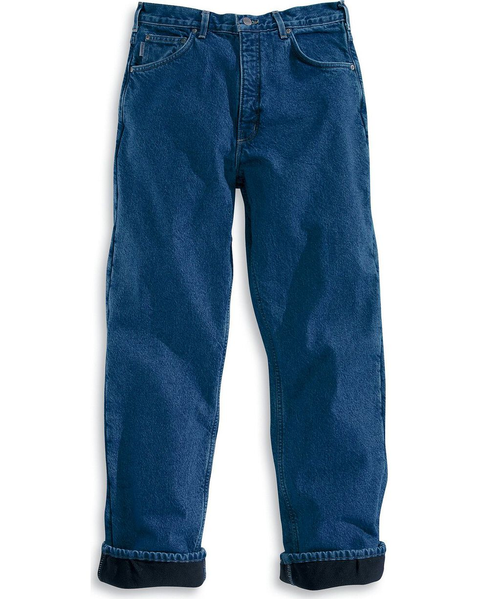 Carhartt Men's Relaxed Fit Fleece Lined Jeans, Dark Stone, hi-res