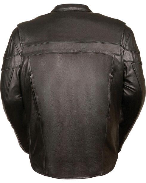 Milwaukee Leather Men's Black Sporty Scooter Crossover Jacket - Big - 4X, Black, hi-res