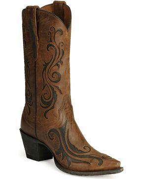 Dan Post Women's Scroll Western Boots, Brandy, hi-res
