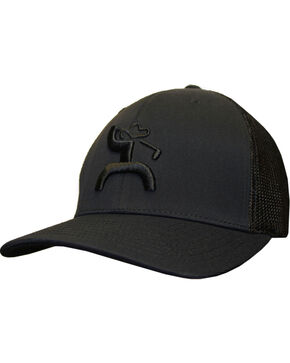 Hooey Men's Golf Mesh Back Trucker Cap , Black, hi-res