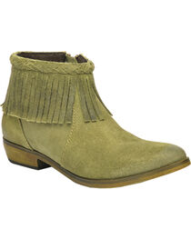 Corral Suede Braided Fringe Short Boots - Round Toe, , hi-res