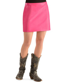 Cowgirl Justice Women's Korey Pink Faux Leather Skirt, , hi-res
