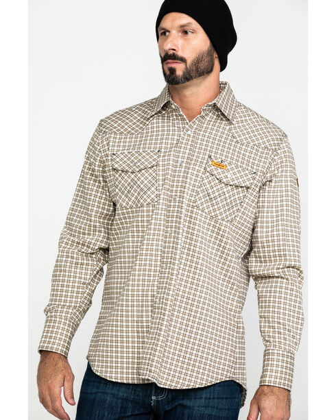 Wrangler Men's FR Lightweight Plaid Work Shirt, Khaki, hi-res