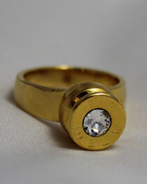 SouthLife Supply Women's Grace Bullet Ring in Traditional Gold with Crystal, , hi-res