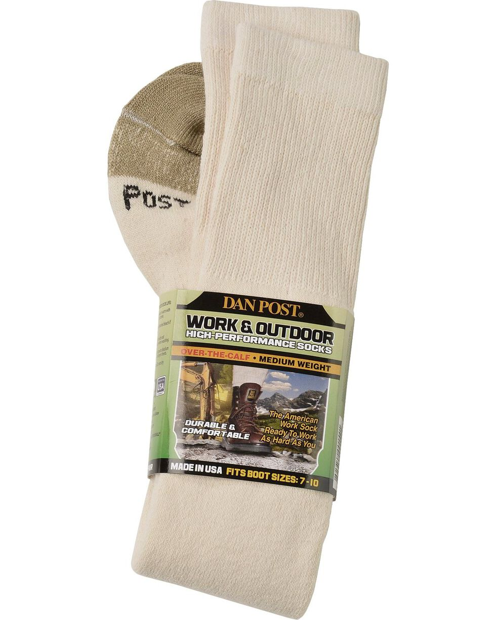 Dan Post Over-the-Calf Medium Weight Performance Socks, Natural, hi-res
