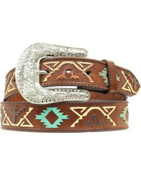 Nocona Thunderbolt Embossed Belt, Dark Brown, hi-res