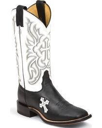 Tony Lama Women's Royal Black Cow San Saba White Top Western Boots - Square Toe, , hi-res