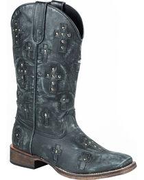 Roper Women's Black Cross Western Boots, , hi-res
