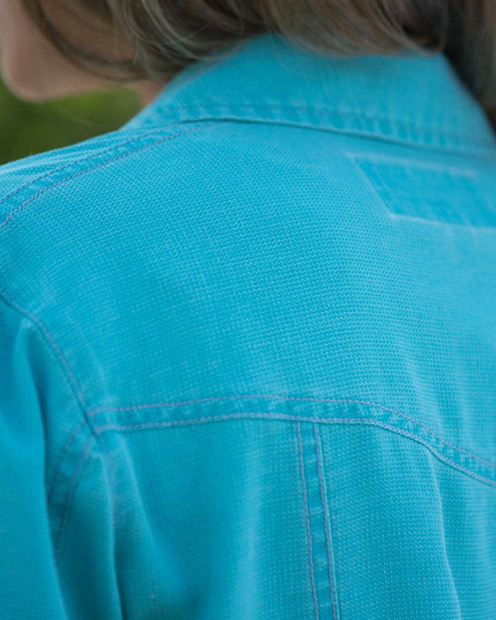 Ryan Michael Women's Turquoise Waffle Texture Jean Jacket, , hi-res