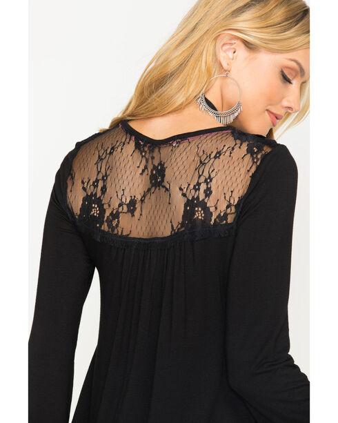 Jolt Women's Black Embroidered Lace Back Top , Black, hi-res