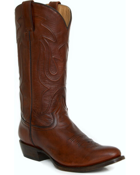 Stetson Burnished Brown Leather Cowboy Boots - Round Toe, Brown, hi-res