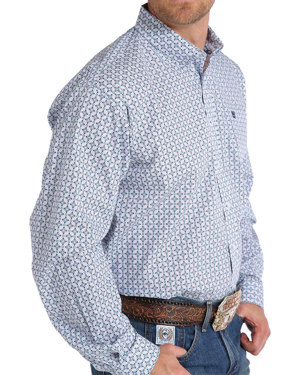 Cinch Men's White Print Long Sleeve Button Down Shirt, White, hi-res