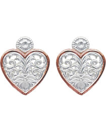 Montana Silversmiths Western Lace Copper Trimmed Classic Heart Earrings, , hi-res