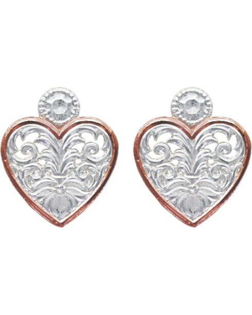 Montana Silversmiths Western Lace Copper Trimmed Classic Heart Earrings, Silver, hi-res