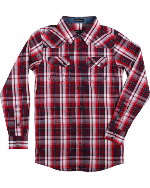 Cody James® Boys' Americana Plaid Long Sleeve Shirt , , hi-res