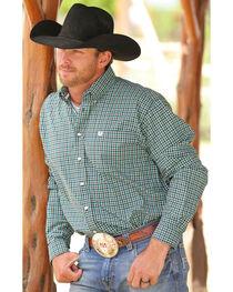 Cinch Men's Black Plaid Long Sleeve Plain Weave Shirt , , hi-res