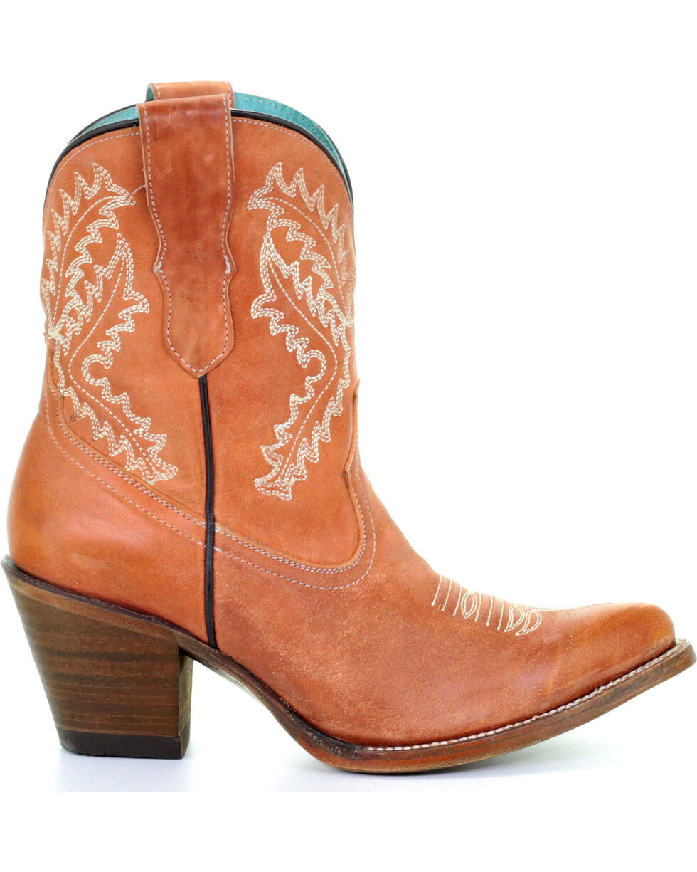 Corral Women's Cognac Embroidered Ankle Boots - Snip Toe, Cognac, hi-res