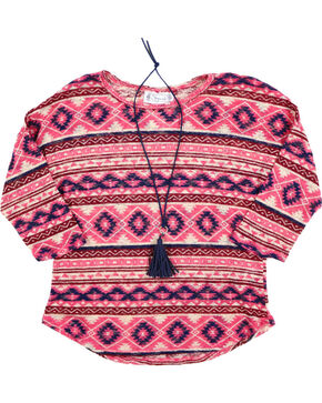 Shyanne Girl's Sheer Knot Aztec Print Long Sleeve Shirt, Coral, hi-res