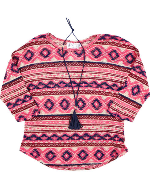 Shyanne Girl's Sheer Knot Aztec Print Long Sleeve Shirt, , hi-res