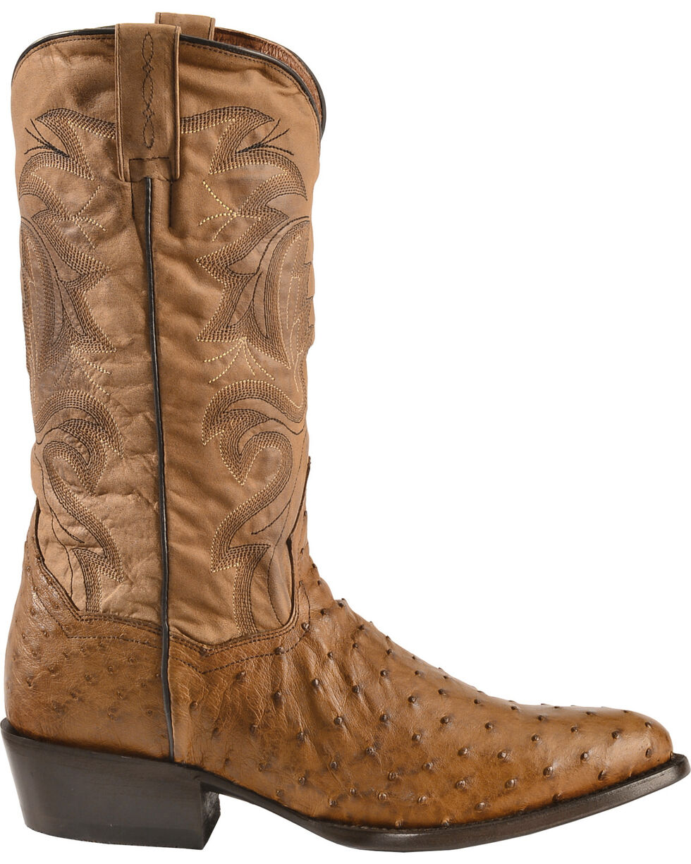 Dan Post Men's Full Quill Ostrich Tempe Western Boots, Saddle Tan, hi-res