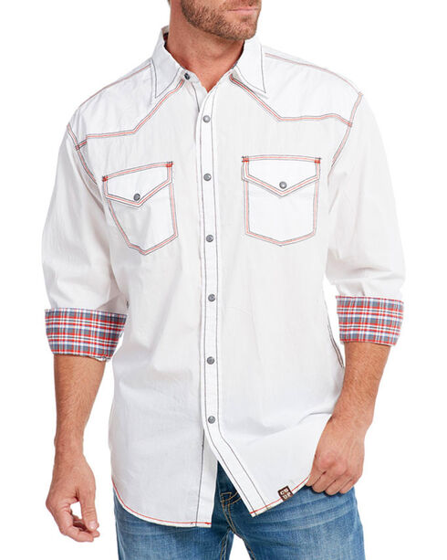 Cowboy Up Men's Solid Long Sleeve Western Shirt, White, hi-res