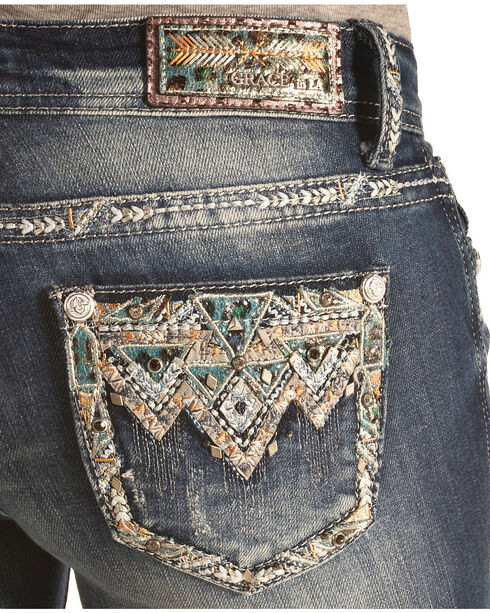 Grace in LA Women's Aztec Embellished Skinny Jeans , Denim, hi-res