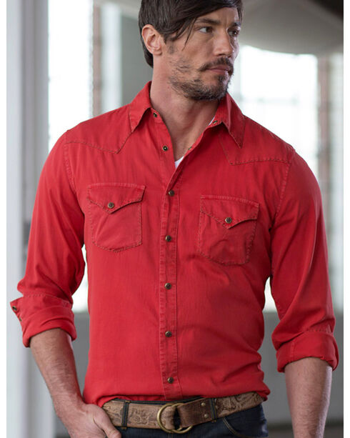 Ryan Michael Men's Textured Stripe Silk Shirt, Red, hi-res