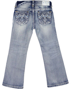 Grace In LA Girls' Embroidered Boot Cut Jeans, Blue, hi-res