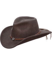 Jack Daniel's Twisted Leather Bend-A-Brim Wool Felt Crushable Cowboy Hat, , hi-res