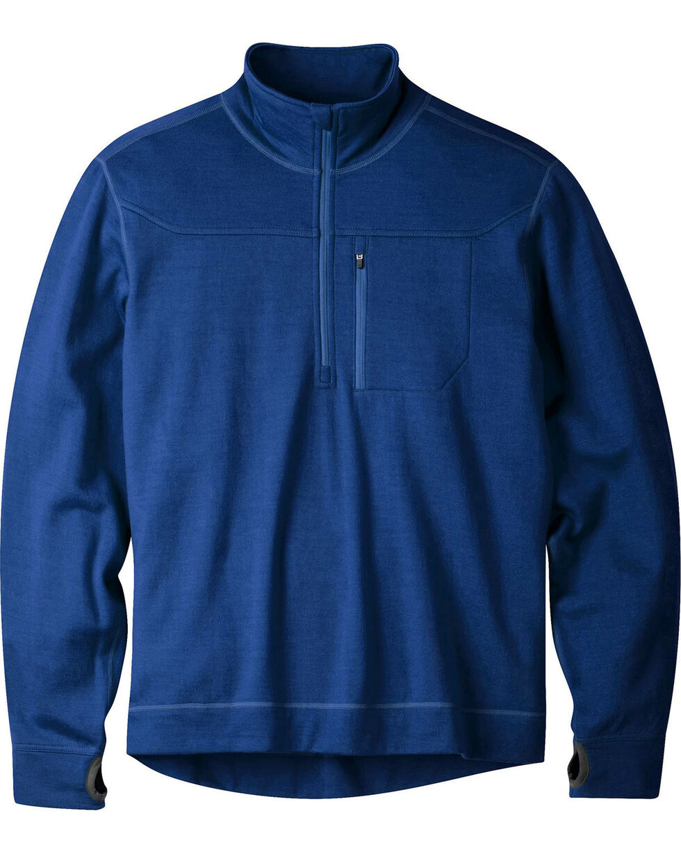 Mountain Khakis Clear Blue Rendezvous Quarter Zip Long Sleeve Shirt, Blue, hi-res