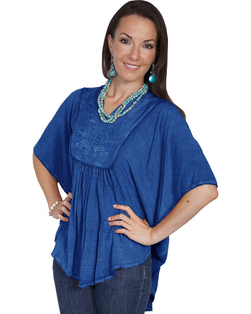 Scully Women's Poncho Blouse, Denim, hi-res
