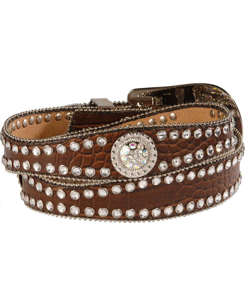 Blazin Roxx Scalloped Croc Print Belt, Brown, hi-res
