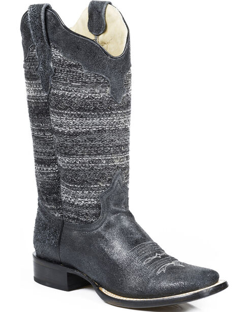 Roper Women's Fashion Fabric Square Toe Western Boots, Black, hi-res