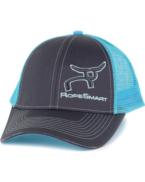 RopeSmart Kids' Neon Logo Trucker Hat, Dark Grey, hi-res