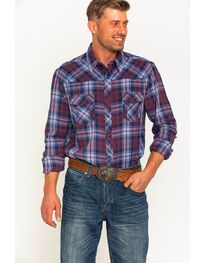 Rock & Roll Cowboy Men's Bleached Wash Flannel Plaid Snap Shirt, , hi-res