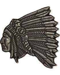 Montana Silversmiths Men's Indian Head Antique Silver Attitude Buckle, , hi-res